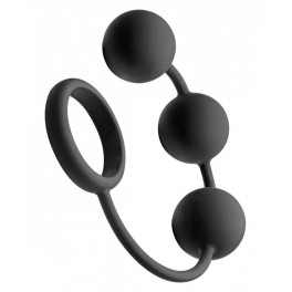 Tom of Finland Silicone Cock Ring With 3 Weighted Balls - silikonový cockring se třemi análními koulemi