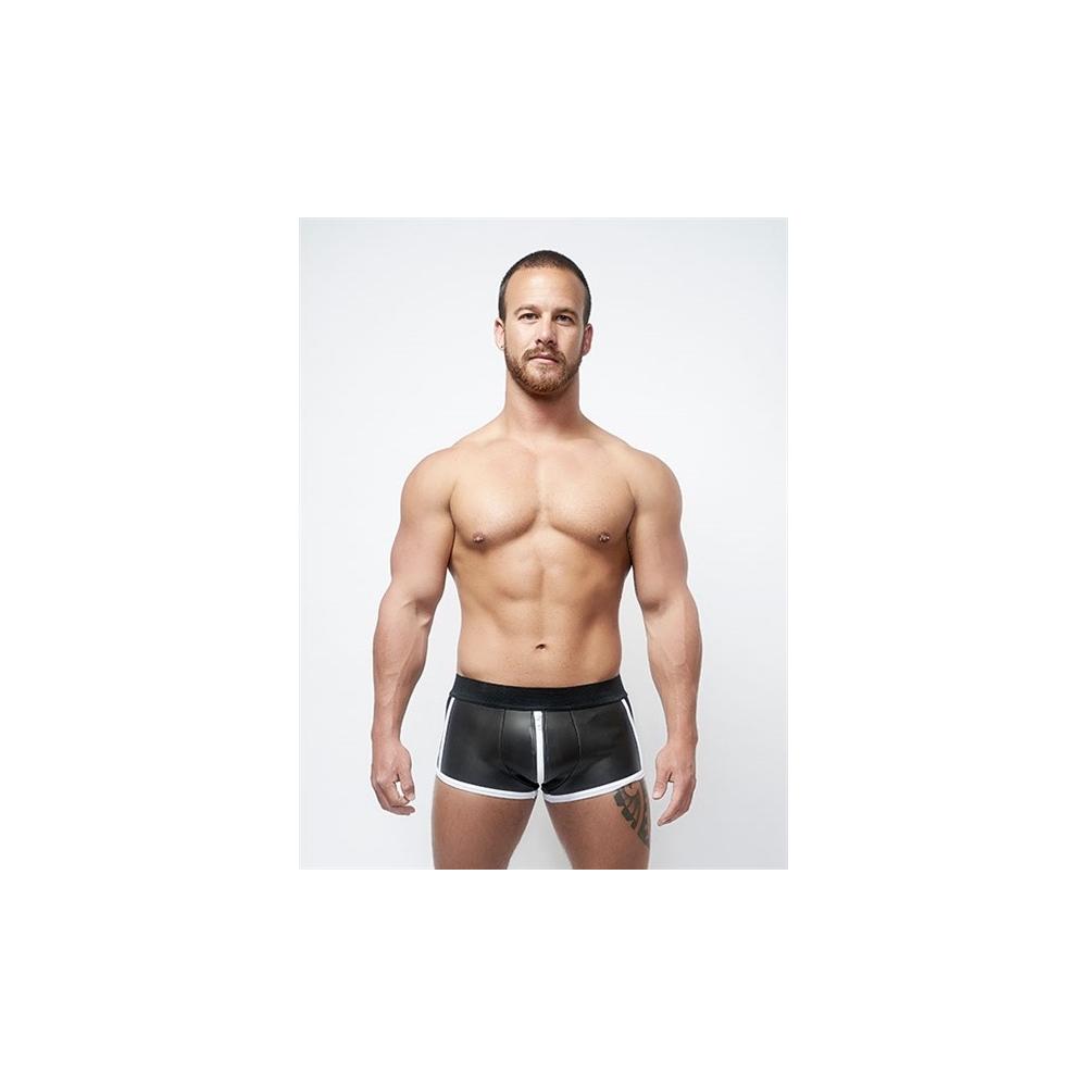 Mister B Neoprene Shorts Full Zip Black White