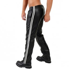 Mister B Leather Joggingpants White Stripes