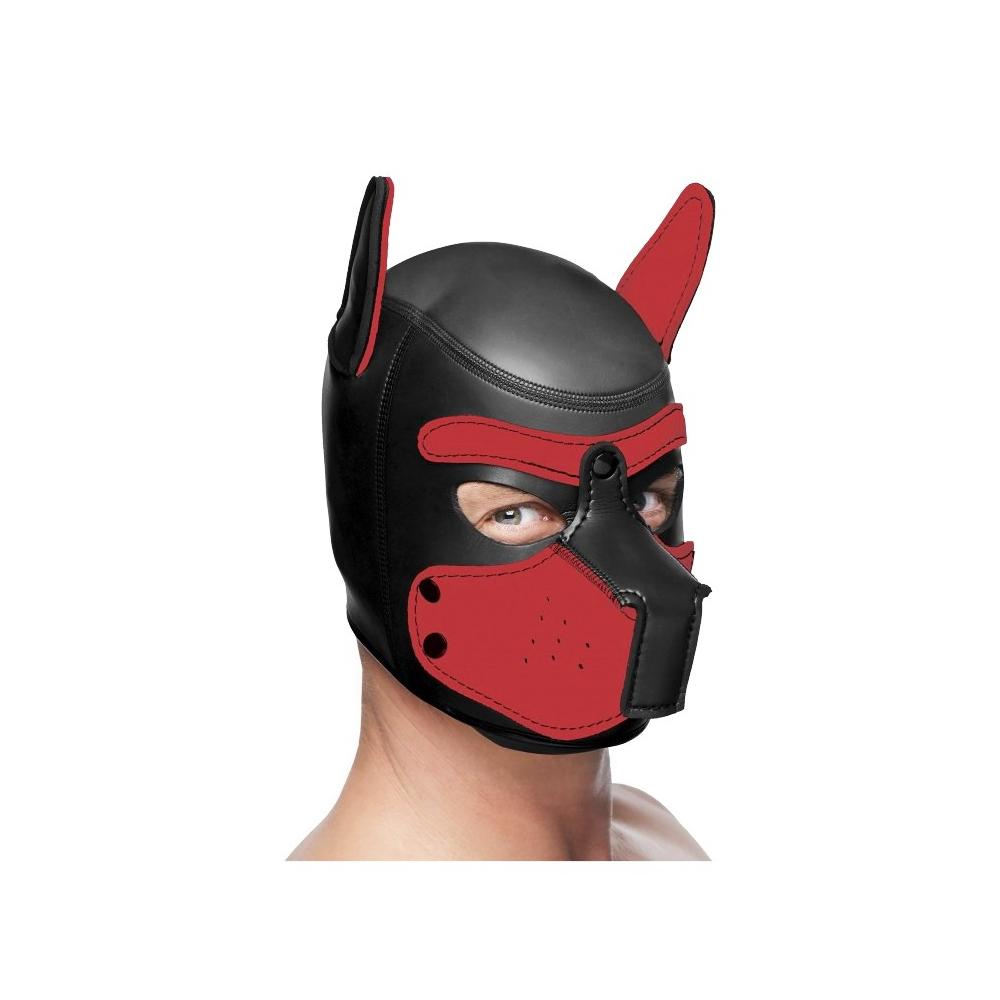 Master Series Spike Neoprene Puppy Hood - Black and Red