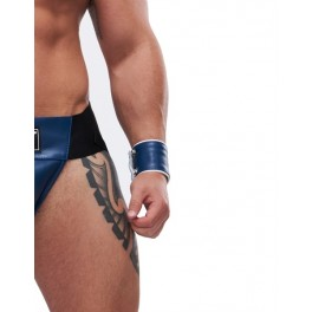 Mister B Leather Circuit Wrist Wallet Zip Blue White