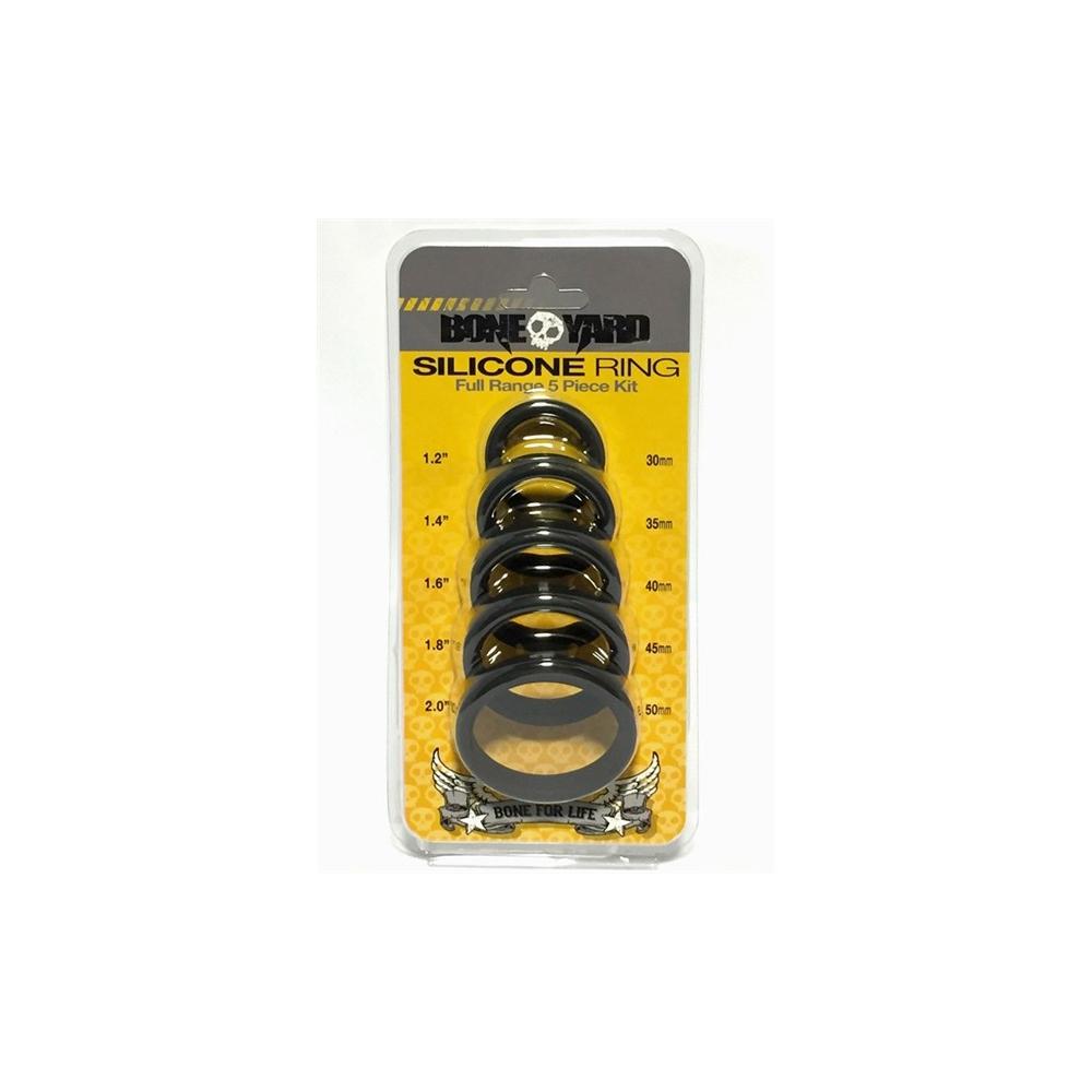 Boneyard Silicone Cock Ring 5 Piece Kit