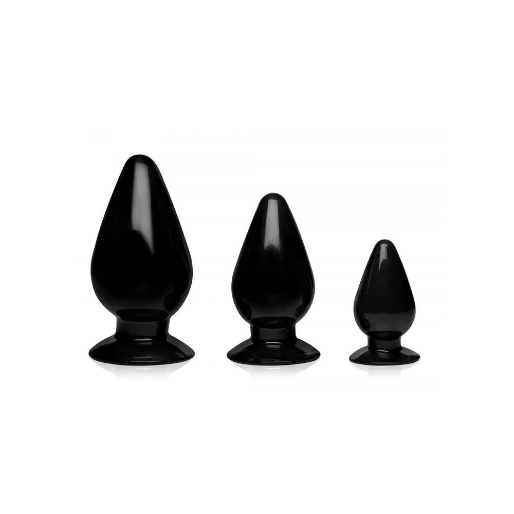 Master Series Triple Cones 3 Piece Anal Plug Set Black